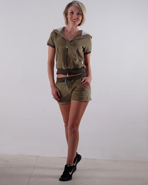 Женский летний спортивный костюм  велюр Хаки размеры 40-44
