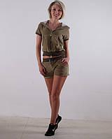 Женский летний спортивный костюм  велюр Хаки размеры 40-44 M