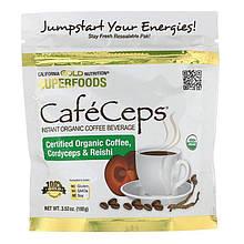 """Органический кофейный напиток California Gold Nutrition """"CafeCeps"""" с грибами кордицепс и Рейши (100 г)"""