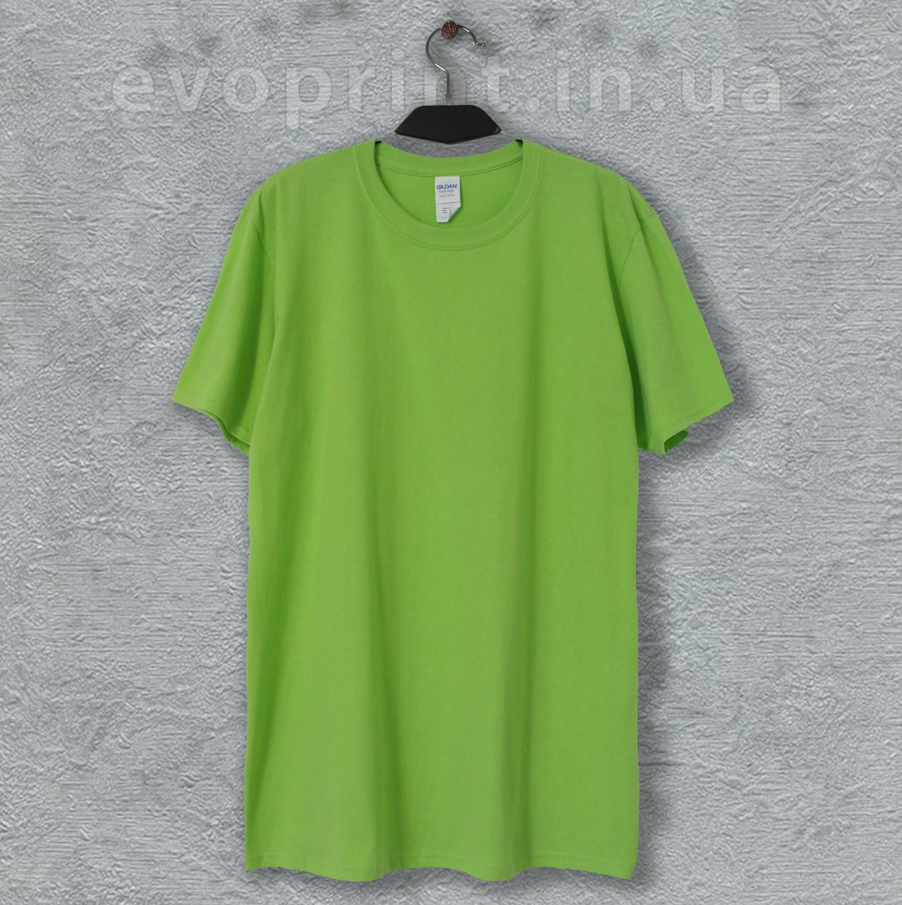 Футболка однотонная мужская ярко зеленая