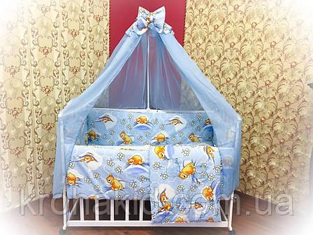 """Дитяче постільна білизна в ліжечко з балдахіном 9в1 """"Ведмедики і соти"""" - 9 предметів / Захист в манеж, фото 2"""