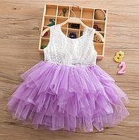 Платье сиреневое короткое летнее нарядное для девочки , фото 1