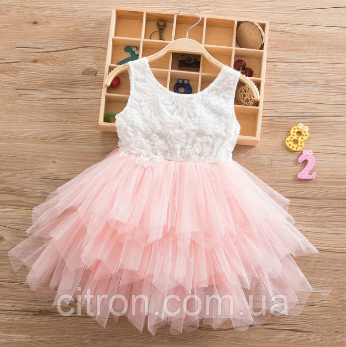 Платье персиковое короткое летнее нарядное для девочки , фото 1