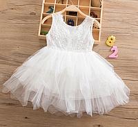 Платье белое короткое летнее для девочки ., фото 1