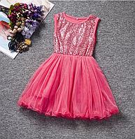 Платье розовое короткое для девочки .