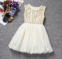 Платье бежевое короткое для девочки .