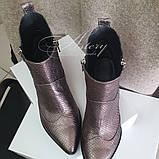 Женские модные ботинки казачки  из питона, фото 2