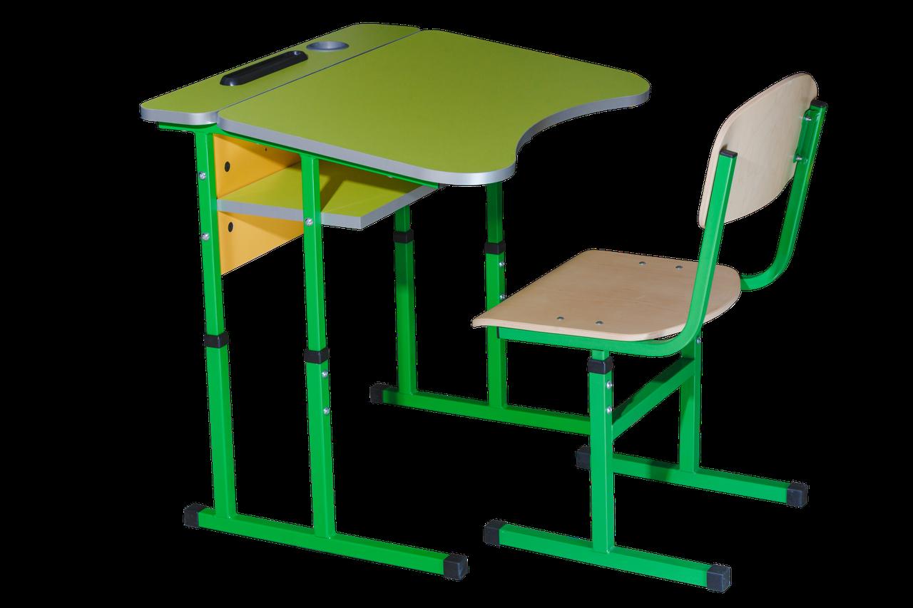 Комплект учнівський регулюємий 1- місний Антисколіозний з площадкою (Парта 90136+1стілець)