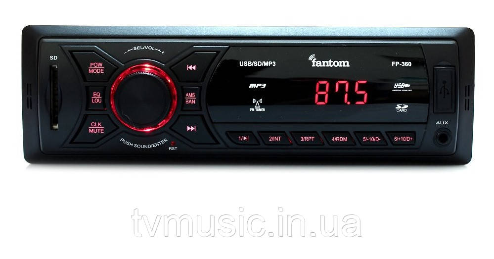 Автомагнитола Fantom FP-360 Black/Red