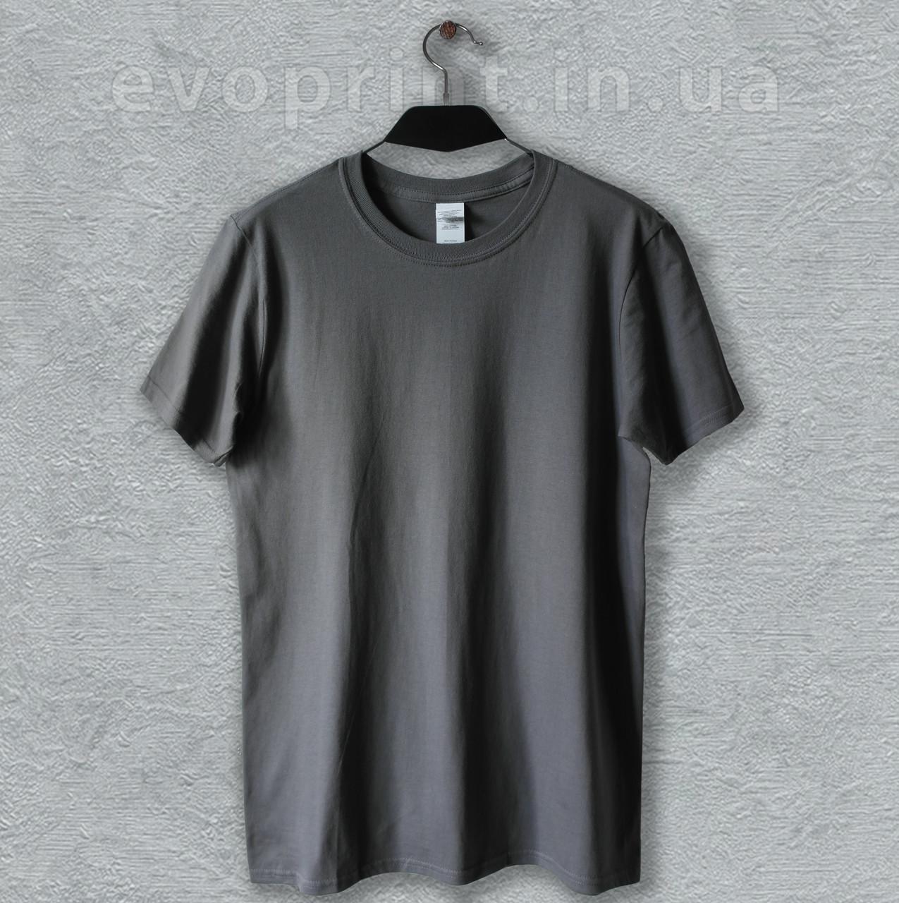 Футболка однотонная мужская темно-серая