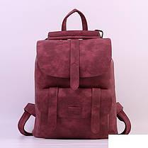Городской молодежный женский модный стильный рюкзак сумка бордовый, фото 3