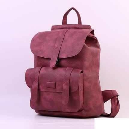 Городской молодежный женский модный стильный рюкзак сумка бордовый, фото 2