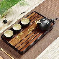 """Чабань - чайный стол """"Цветок"""", бамбуковый 32 х 19 х 4см №1909"""