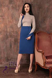 """Женская юбка миди """"Арника"""" на широких бретелях  Распродажа модели электрик, 50"""