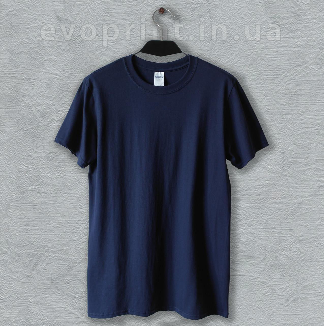 Однотонная футболка мужская темно-синяя