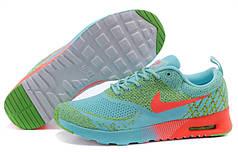 Женские кроссовки Nike Air Max Thea Flyknit зелено-кораловые
