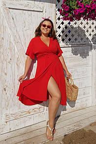 Летнее женское платье из штапеля на запах в больших размерах 53ba2059