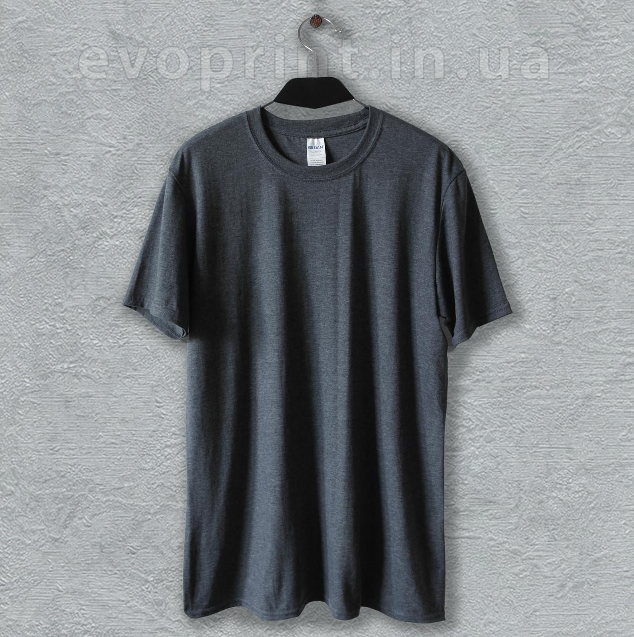 Футболка мужская однотонная темно-серый меланж