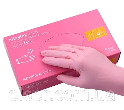 Перчатки нитриловые Nitrylex розовые,  неопудренные, 100 шт. S