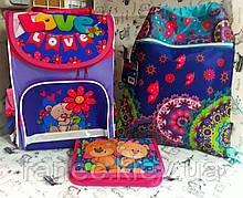 Набор для Девочки Мишки рюкзак школьный 988085 пенал JO-18122 и сумка для обуви SM-18201 для первоклассницы