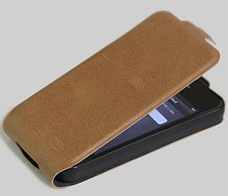 Чехол флип для iPhone 4 4S коричневый