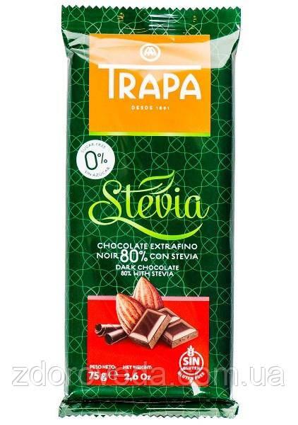 Черный шоколад, 80% какао, без сахара, Trapa Stevia