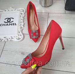 Туфлі червоні жіночі на каблуку шпильці екозамша