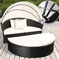 Кровать - шезлонг, диван из ротанга черная