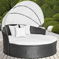 Пляжная кровать шезлонг из ротанга