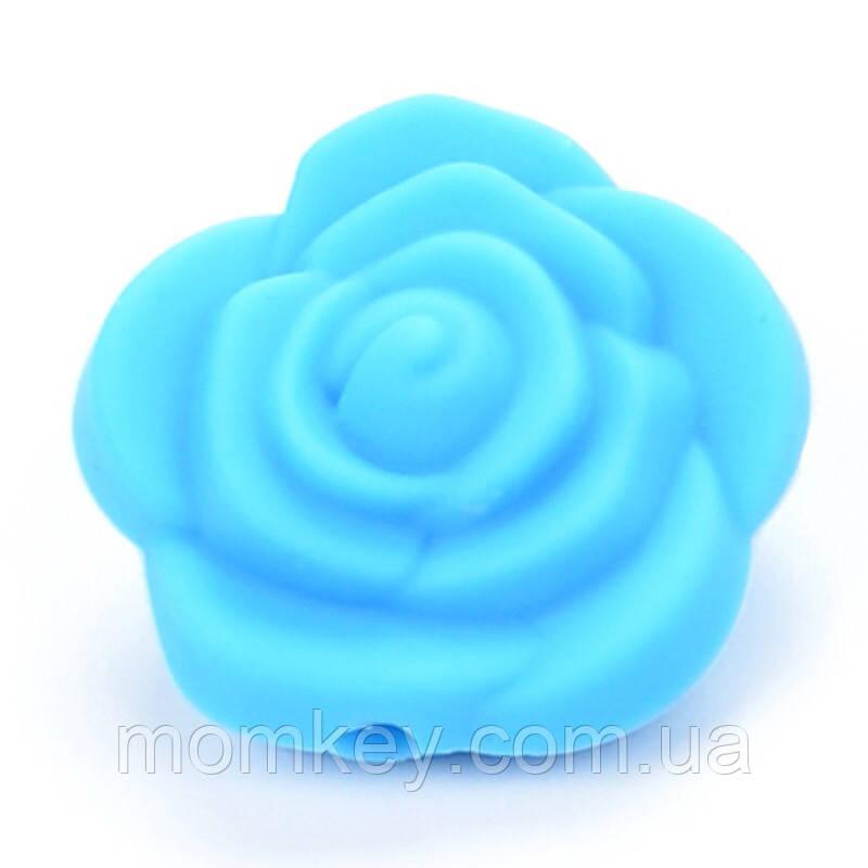 Роза 21*21*19 мм (голубой)
