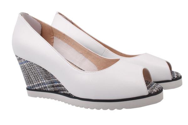 Туфли на танкетке летние женские Geronea натуральная кожа, цвет белый