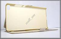 Золотистый чехол-книжка Double Window для смартфона Huawei Ascend P8, фото 1