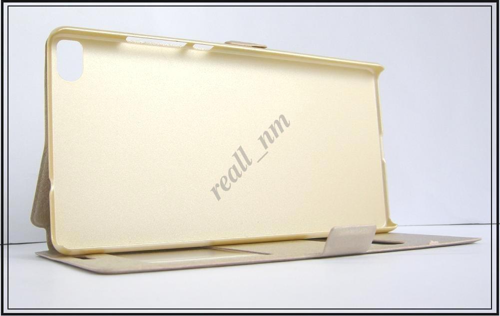 Золотистый чехол-книжка Double Window для смартфона Huawei Ascend P8