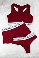 Женское нижнее белье Calvin Klein (комплект) — красный топ, стринги, боксеры (шорты)