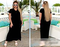 Длинное платье черное на пуговицах, с 46-56 размер, фото 1