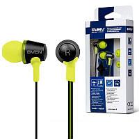 Гарнитура Sven SEB-190M черно-желтая, вакуумные наушники с микрофоном проводные для телефона, навушники свен