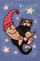 Набор для вышивания бисером FLF-069Лунный кот 25*35 Волшебная страна качественный , фото 1