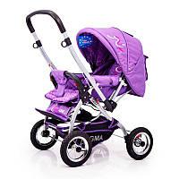 Детская прогулочная коляска с перекидной ручкой Sigma H-538AF (надувные колеса) Фиолетовая