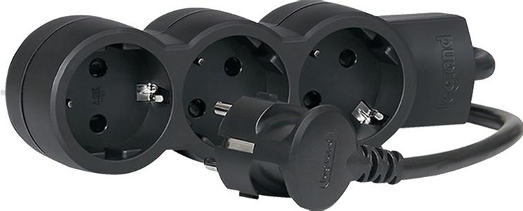 Удлинитель 3x2K+3 1.5 м Black