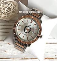 Женские часы Pandora красное золото с серебром календарь с датой без камней с логотипом