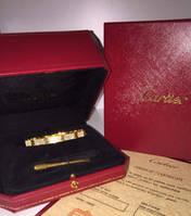 Браслет Cartier full stones лимонное золото 17 размер(люксовая реплика)
