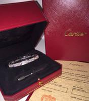 Браслет Cartier full stones белое золото 17 размер(люксовая реплика)