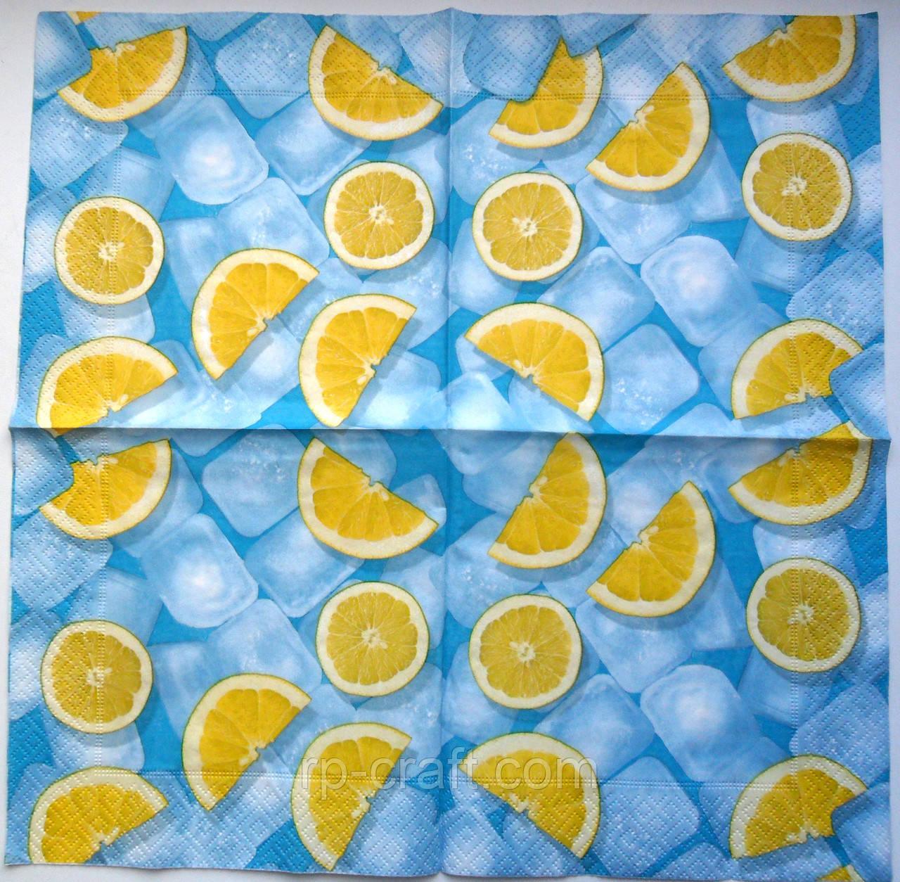 Серветка для декупажу. Лимони і лід, 33х33 см