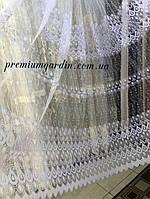Занавеска с красивой вышивкой в 4 ряда для спален или гостинных №yon-20.Цвет: Белый
