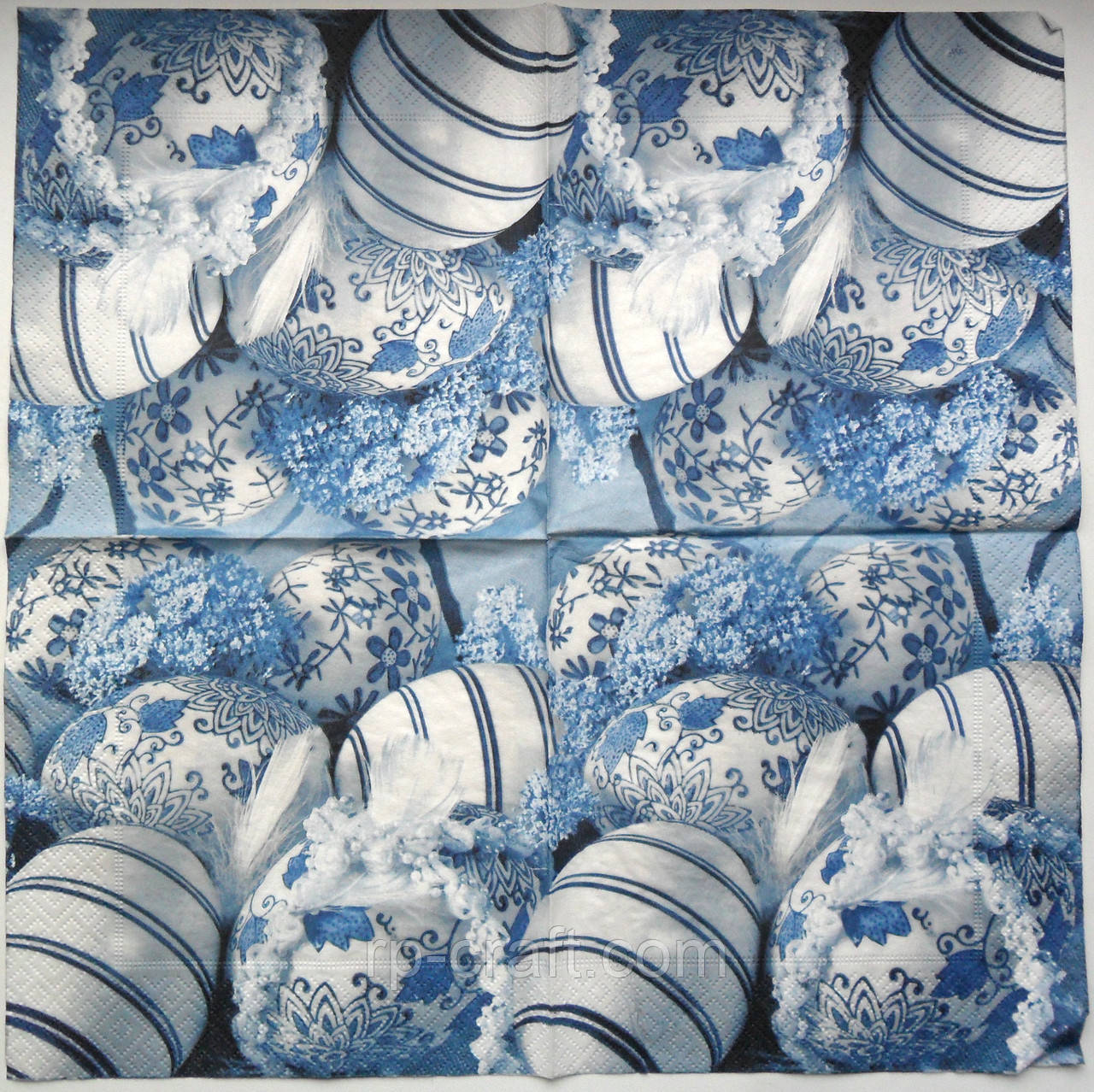 Серветка для декупажу. Яйця в блакитних тонах, 33х33 см