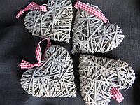 Сердечко пепельное из ротанга, 9,5х9 см (25/20) (цена за 1 шт. + 5 гр.), фото 1