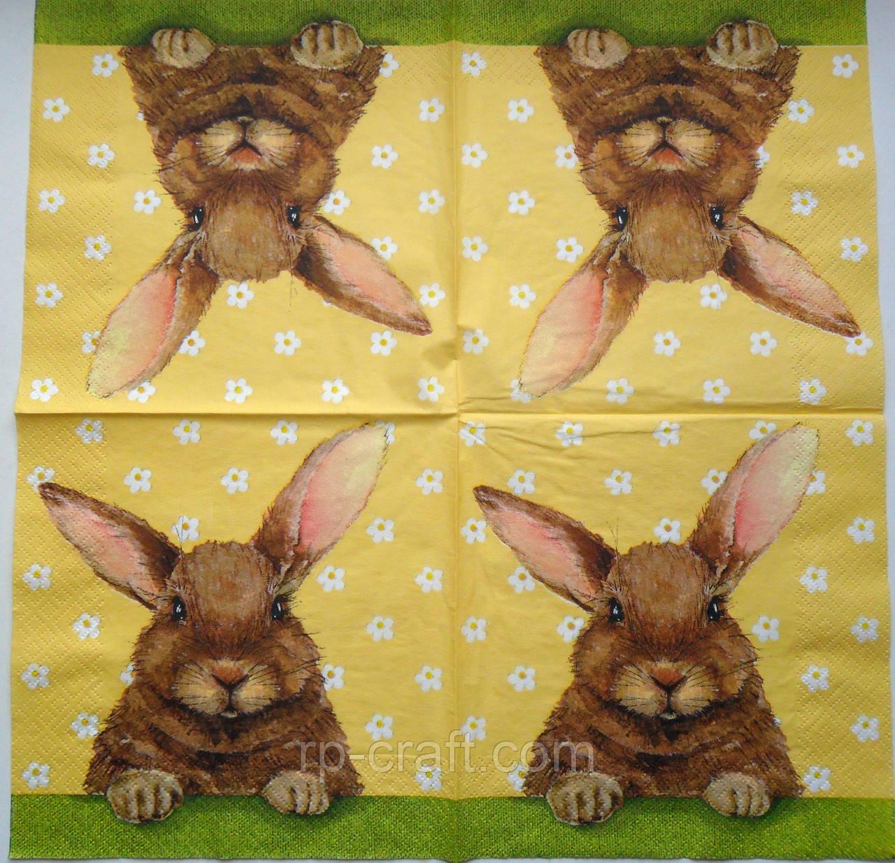Серветка для декупажу. Кролик, 33х33 см