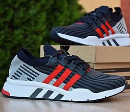 Мужские кроссовки Adidas EQT Equipment синие с красным. Живое фото (Реплика ААА+)