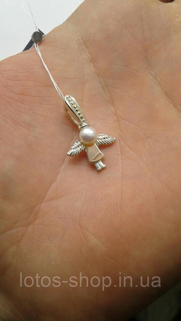 """Серебряная подвеска с золотой накладкой """"Ангел"""""""