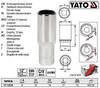 """Головка торцева 12-гранна подовжена 1/2"""" М=8 l=77 мм YATO Польща YT-12930"""